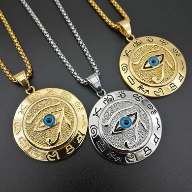 Horus Eye Stainless steel Pendant Gold Necklace Statement