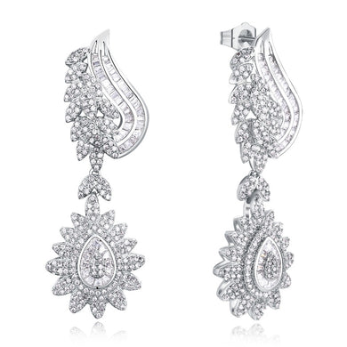 White Gold color Luxury Drop Earring flowery fashion