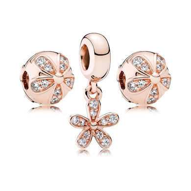 925 Sterling Silver Charm Rose Gold Bead Bracelet Jewelry Set