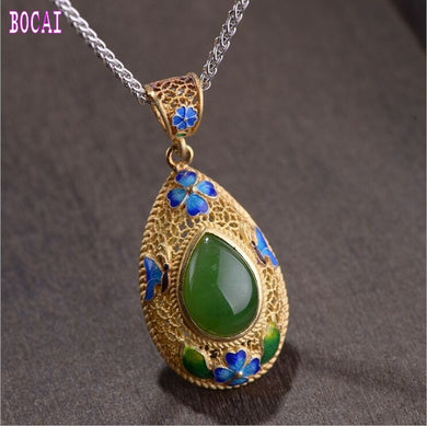 925 Silver/Gold Plated Natural Stone Pendant