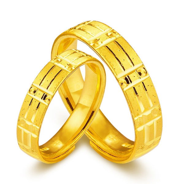 Solid 24K Yellow Gold Ring 999 Gold Bands