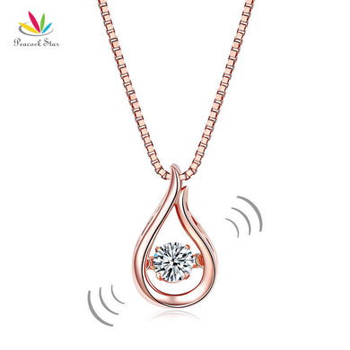 Stone Waterdrop Pendant Solid 925 Silver Sterling Necklace Jewelry