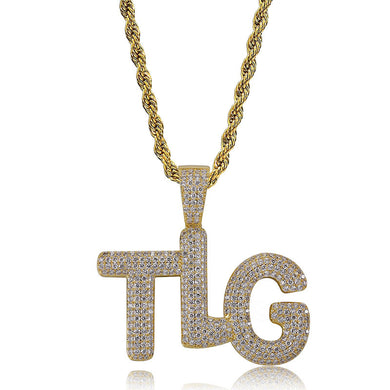 TLG Letter Pendant Necklace White Stone Gold/Silver
