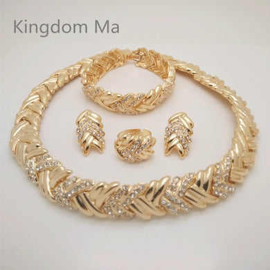Beads Jewelry Wedding Set Gold Color