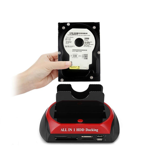 "All-in-1 Dual Hard Drive HDD Docking Station with One Touch Backup for 2.5""/3.5"" SATA IDE - WooTech Online Shopping"