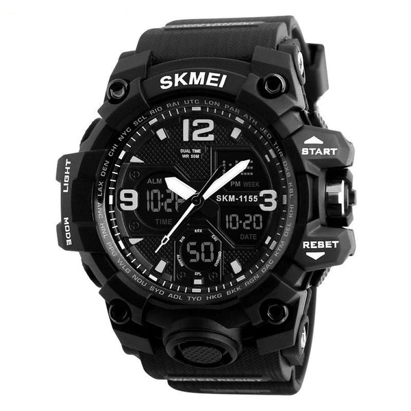 Sport Digital Watch Large Dial Digital Multiple Time Zone 50M Waterproof EL Light Alarm Wristwatches - Skmei 1155