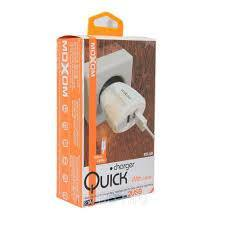 Moxom quick home charger 2.1Amp 2-Usb with cable kh-68 white - WooTech Online Shopping