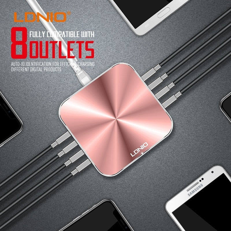 Ldnio A8101 - 8 USB Port Charger - For Mobile Phone Quick Charge 3.0  - Rose Gold - WooTech Online Shopping