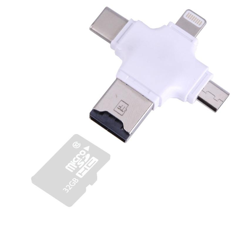 4 IN 1 MULTIPLE SMARTMOBILE FLASH DRIVE FOR IPHONE MAC,WINDOWS, IOS/ANDROID USB2.0 (WHITE) - WooTech Online Shopping