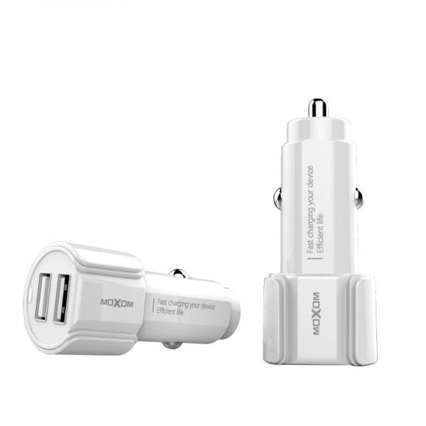 Moxom dual usb charger with cable kc-15 white - WooTech Online Shopping