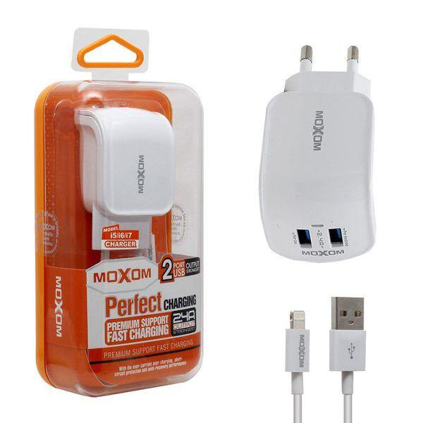 Moxom Home Fast Charger 3.0Q 2Usb With Cable -Kh-25 - WooTech Online Shopping