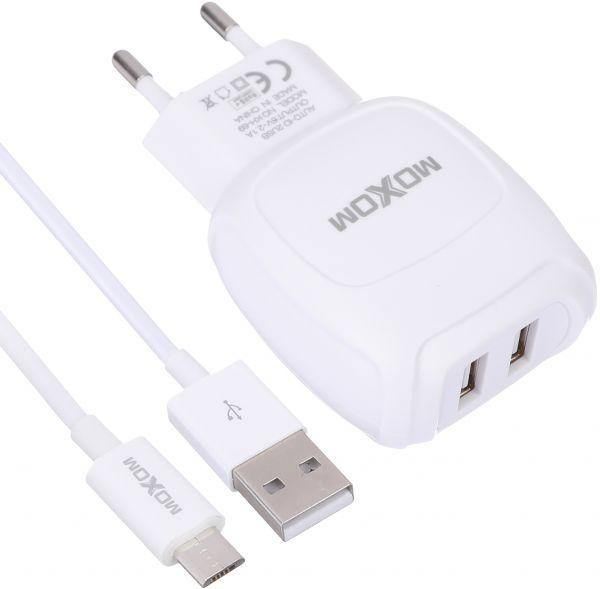 moxom home charger auto-id2.1A with cable kh-69 white - WooTech Online Shopping
