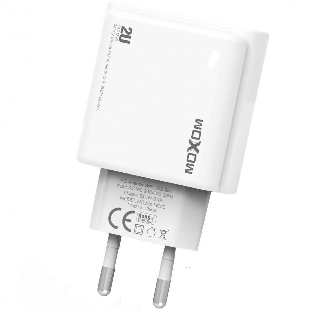 Moxom Fast Phone Charger - 2 usb Port With Cable For ios-Micro-Type-c  Mx-Hc20 - WooTech Online Shopping