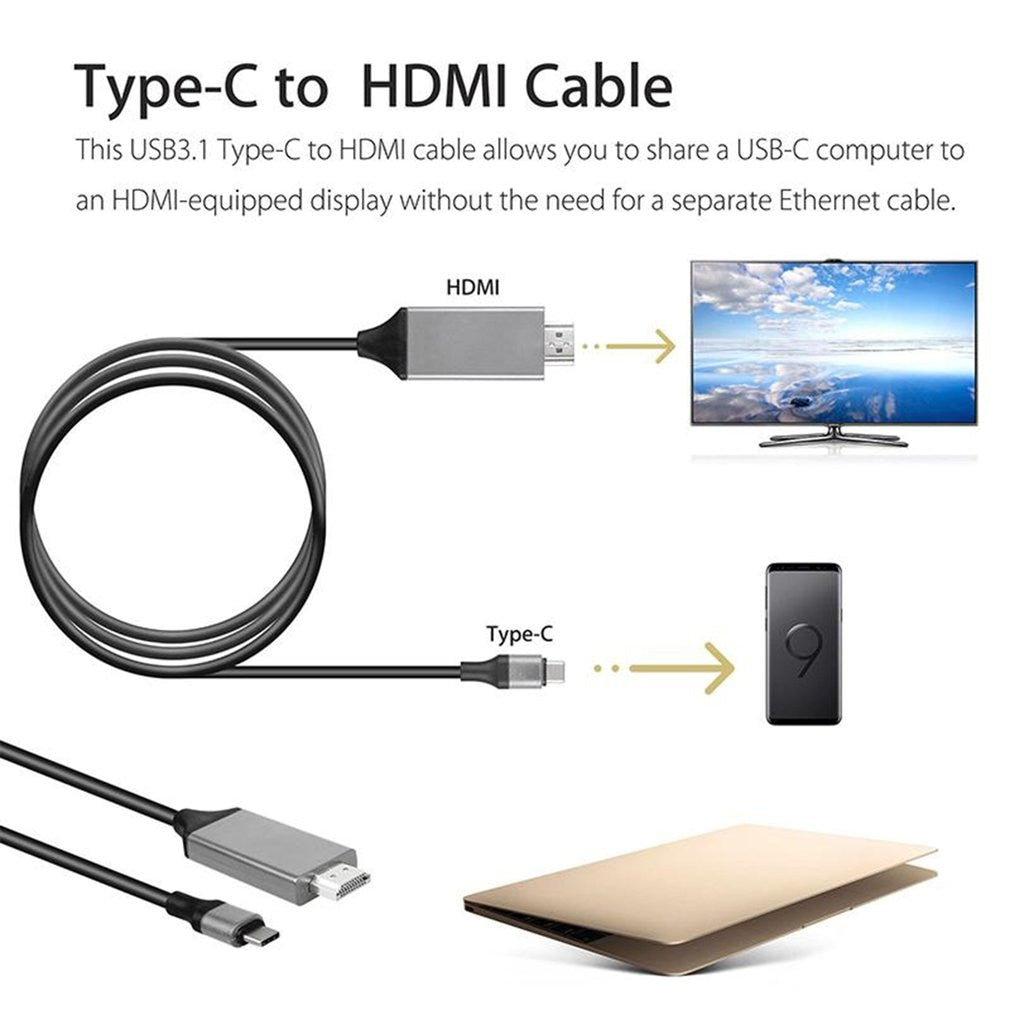 For Samsung Galaxy S10 Note 8 Note 9 Type-C USB-C to HDMI HDTV 4K Cable Adapter