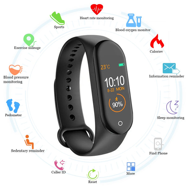 M4 Smart band Fitness Tracker Watch Sport bracelet Heart Rate Blood Pressure - WooTech Online Shopping
