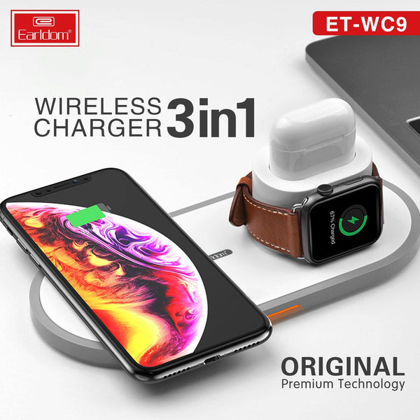 3 In 1 Wireless Fast Charger for iPhone, Apple Watch, AirPods - WooTech Online Shopping