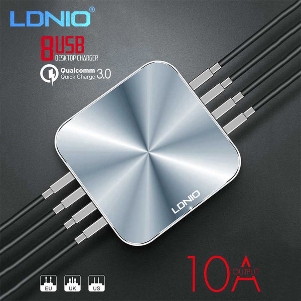 Ldnio A8101 - 8 USB Port Charger - For Mobile Phone Quick Charge 3.0  - Silver - WooTech Online Shopping