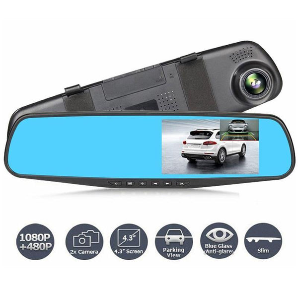 Dual Lens Car Camera Full HD 1080P Video Recorder Rearview Mirror With Rear view DVR Dash cam - WooTech Online Shopping