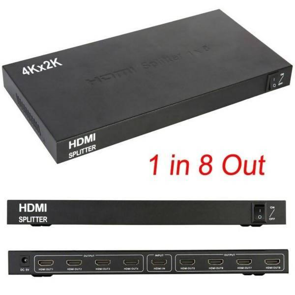 HDMI 8 Port Splitter 4k - 1 in 8 Port out splitter for TV and Computer