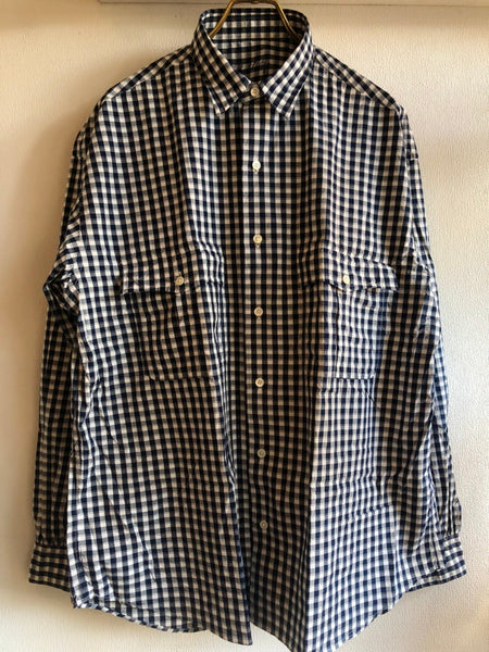 Porter Classic ROLL UP GINGHAM CHECK SHIRT -NAVY-
