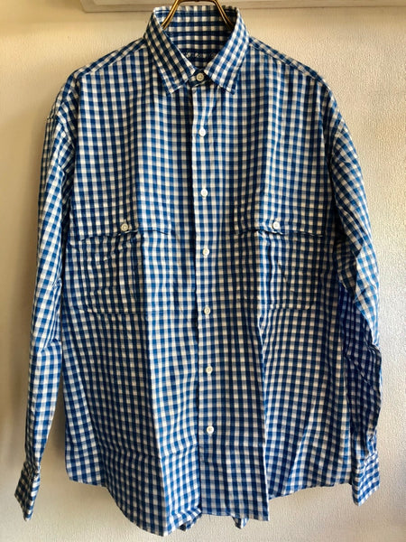 Porter Classic ROLL UP GINGHAM CHECK SHIRT -BLUE-