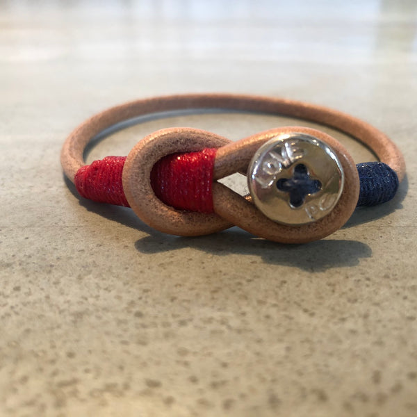 Porter Classic LEATHER BRACELET W/ SILVER BUTTON