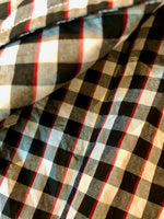 Porter Classic ROLL UP TRICOLOR GINGHAM CHECK SHIRT -BLACK-