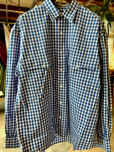 Porter Classic ROLL UP TRICOLOR GINGHAM CHECK SHIRT -BLUE-