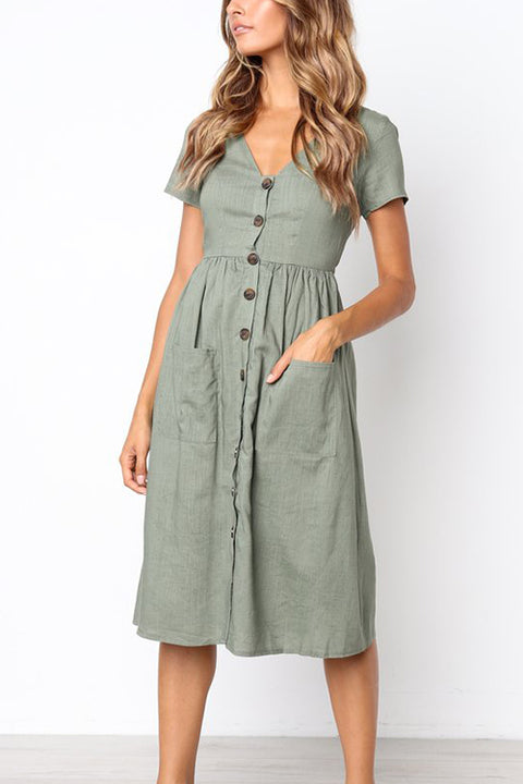 WindPink Casual V Neck Buttons Mid Calf Dress