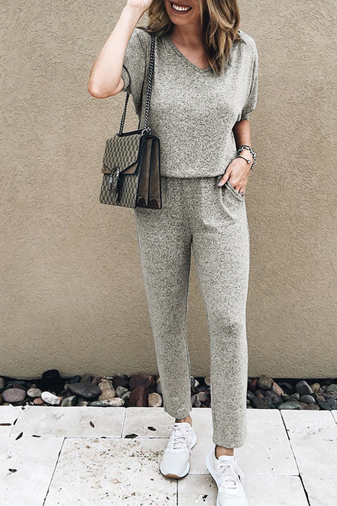 Windpink Casual Loose Grey Jumpsuit