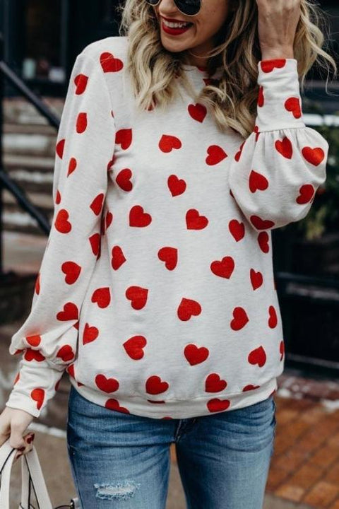 WindPink Round Neck Heart-shaped Printed T-shirt