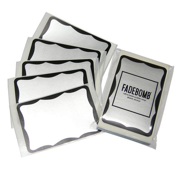 50 FADEBOMB Matte silver border eggshell sticker