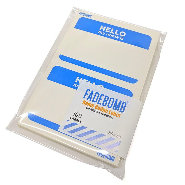 FADEBOMB Printable Name Badge Label - BLUE HELLO -