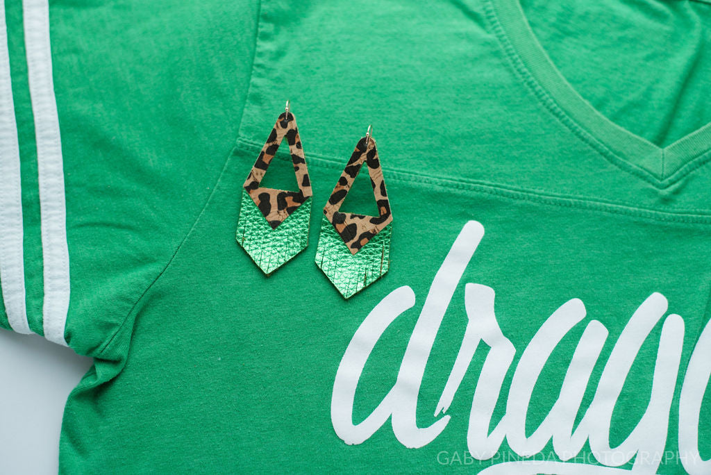 Southlake Carroll Dragons Triangle Fringe in Leopard Cork and Green