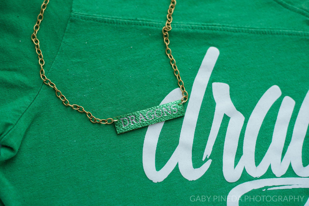 Southlake Carroll Dragon Foil Stamped Bar Necklace