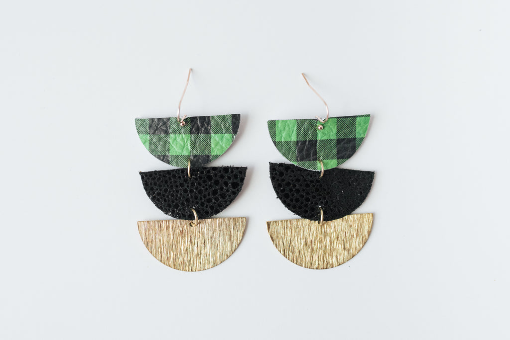 Green & Black Buffalo Plaid, Black and Gold Triple Layer Geo Half Circle Earrings
