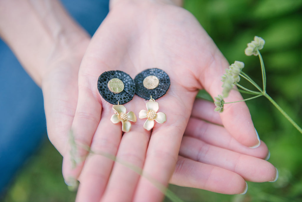 Small Double Stacked Circles With Gold Floral Stud