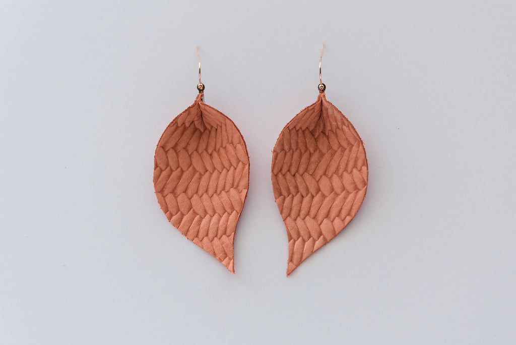 Braided Leather and Crackle Gold Double Layer Leaf Earring