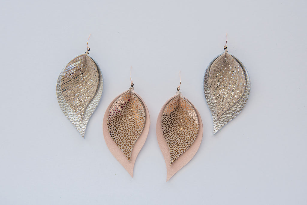Silver Rain & Rosegold Sting Ray Double Layer Leaves