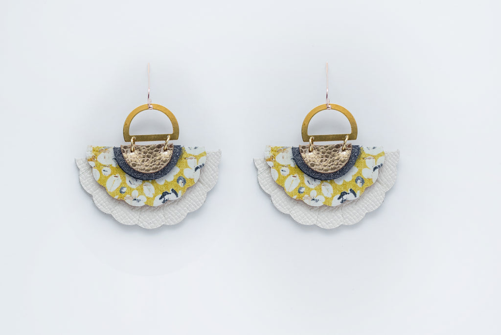 Mustard & White Poppies Triple Layer Sea Shell Earrings