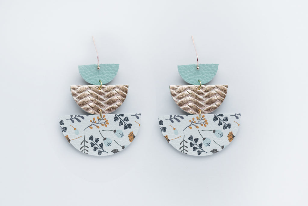 Mint, Rose Gold & Blue Prairie Flowers Triple Layer Geo Half Circle Earrings