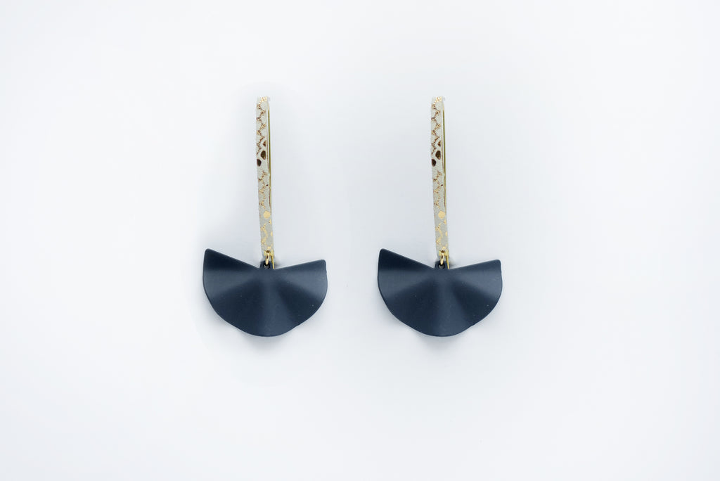 Gold Snakeskin & Navy Metal Fan Earwire Earrings