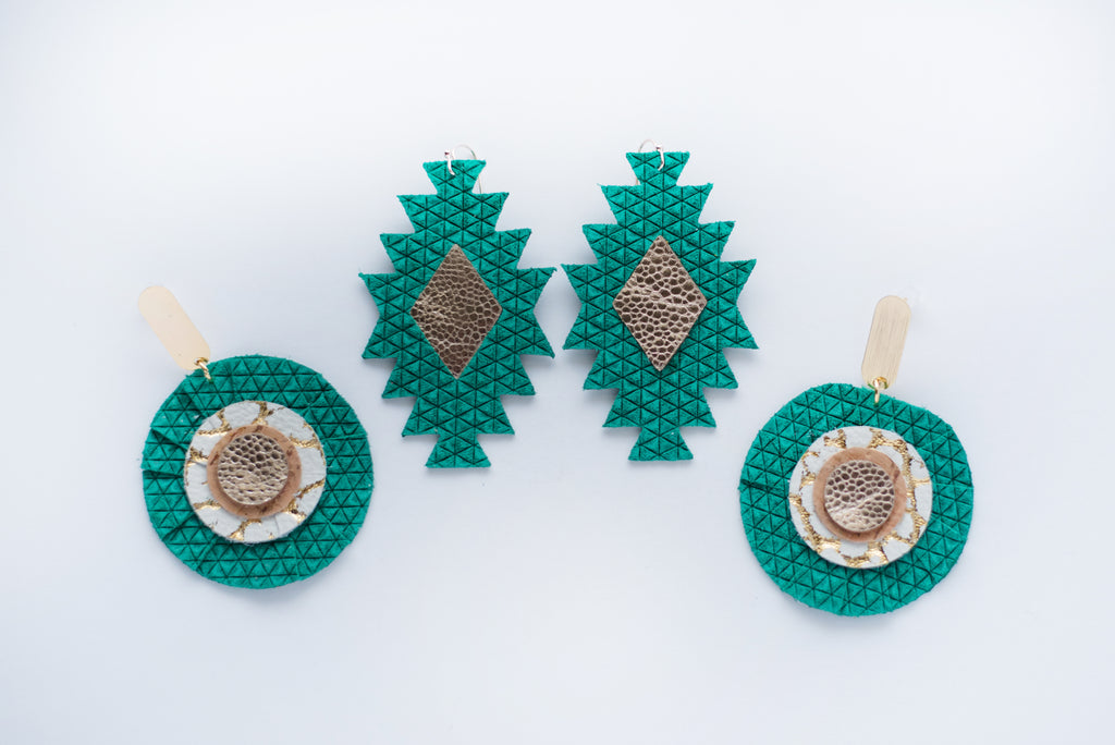 Emerald Green & Gold Tribal Diamonds Earrings