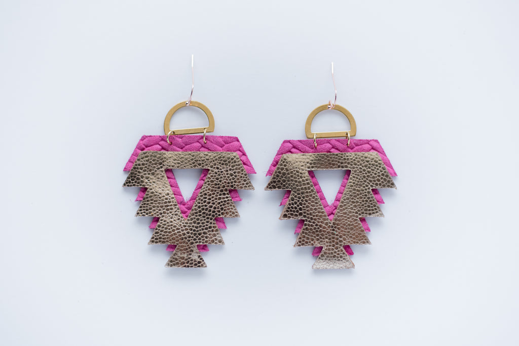 Pink & Gold Double Layer Tribal Triangle Earrings