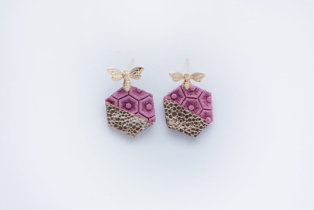 Mini Pink Honey Bee Earrings
