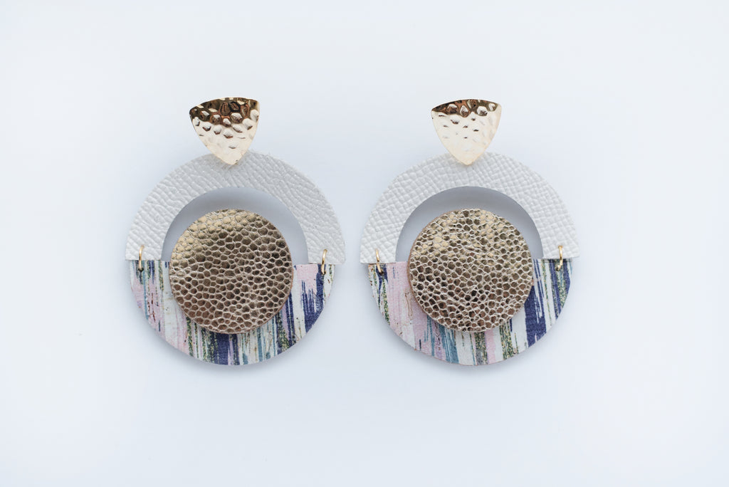 Blue Brush Strokes & Gold Layered Geo Circle Earrings
