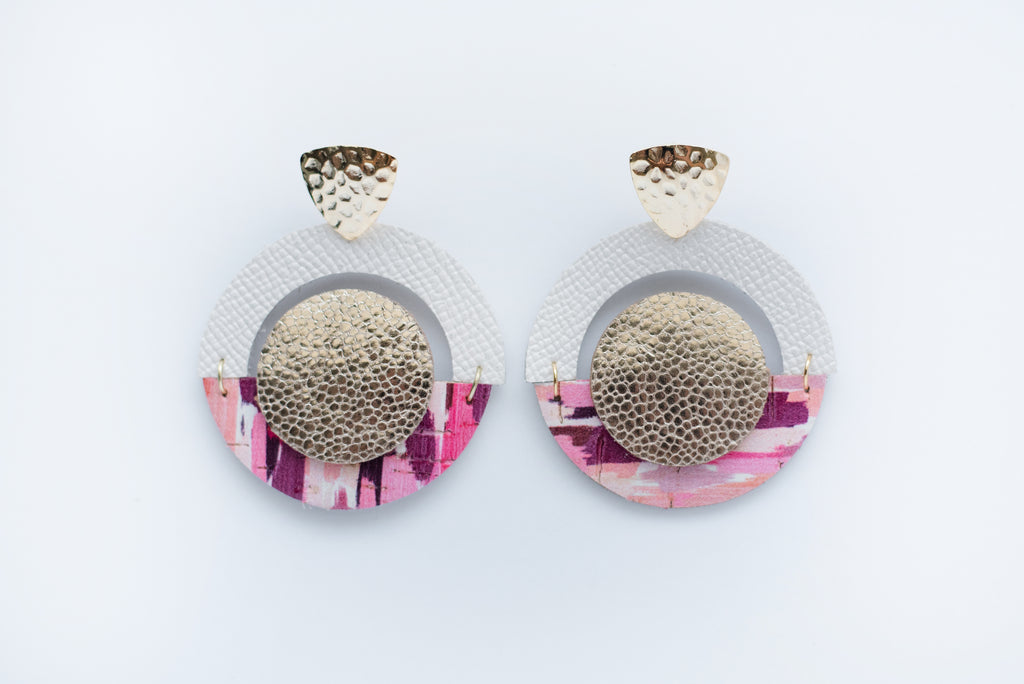 Pink Brush Strokes & Gold Layered Geo Circle Earrings