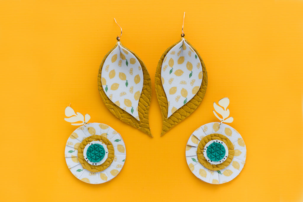 Yellow Lemon Print Scalloped Circle Earrings