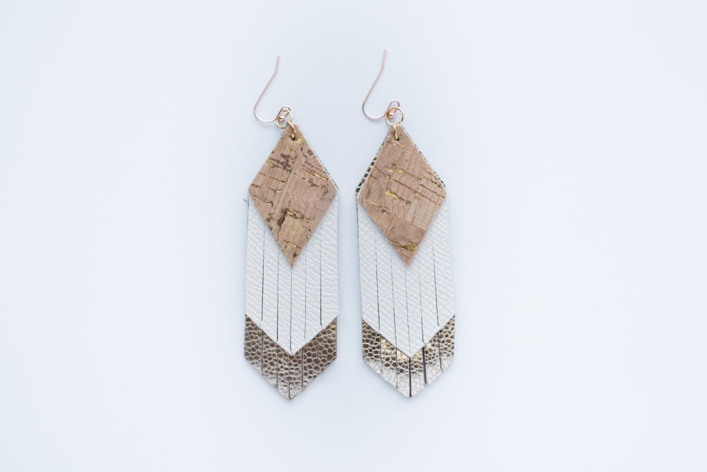 Natural Cork & Gold Triple Layer Diamond Fringe Earrings