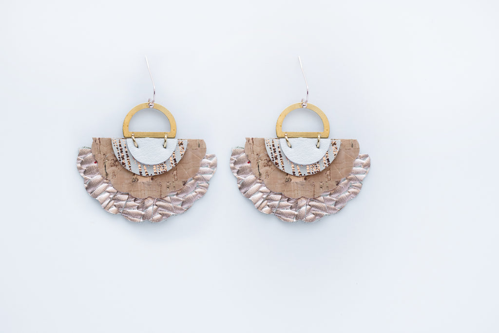 Rose Gold & Cork Triple Layer Sea Shell Earrings